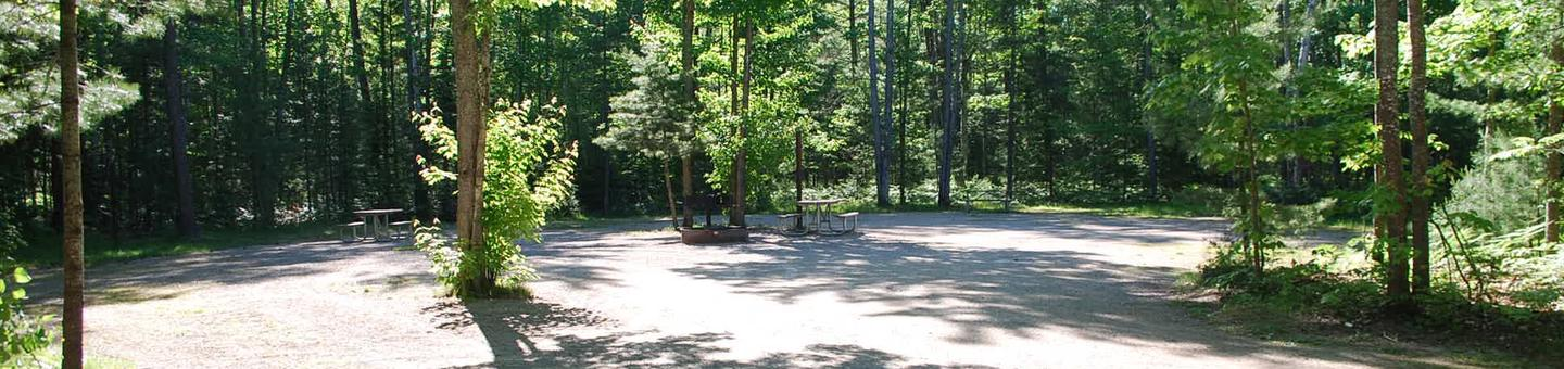Camp Seven Campground site #32 picnic table and fire pit among the trees.