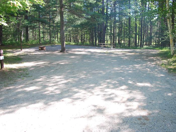 Camp Seven Campground site #39 picnic table and fire pit among the trees.