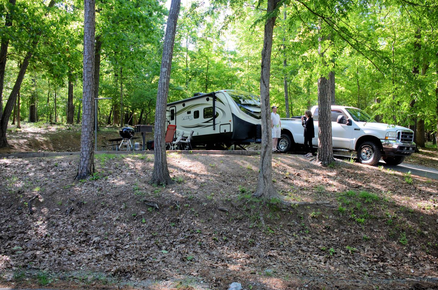 Driveway slope, awning-side clearanceMcKinney Campground, campsite 29