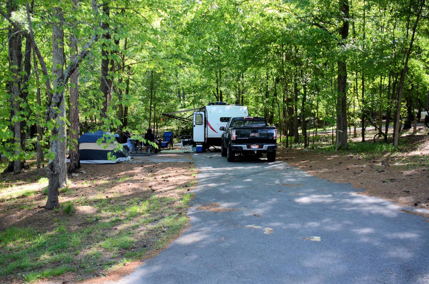 Driveway (pull-thru), awning-side clearance.McKinney Campground, campsite 31.