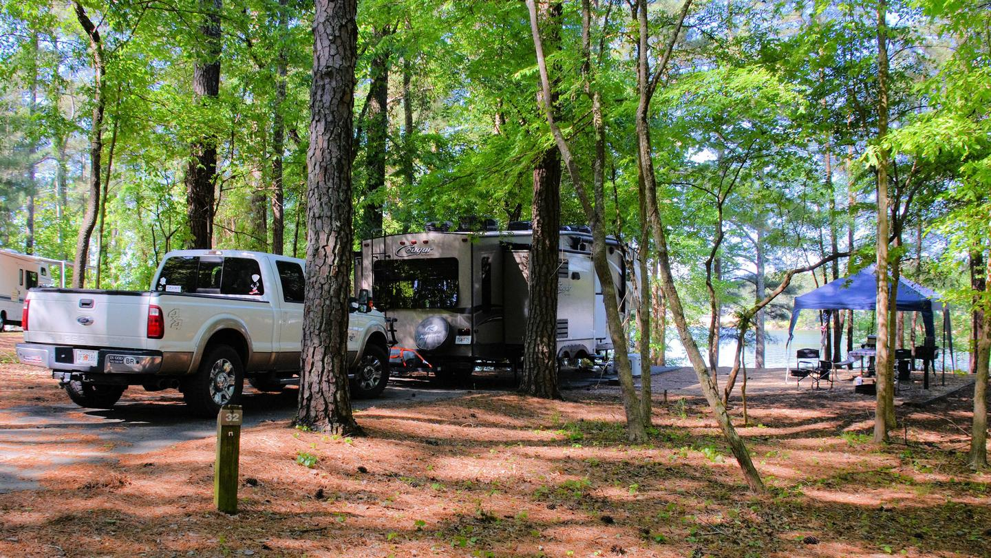 Driveway (pull-thru), awning-side clearance.McKinney Campground, campsite 32