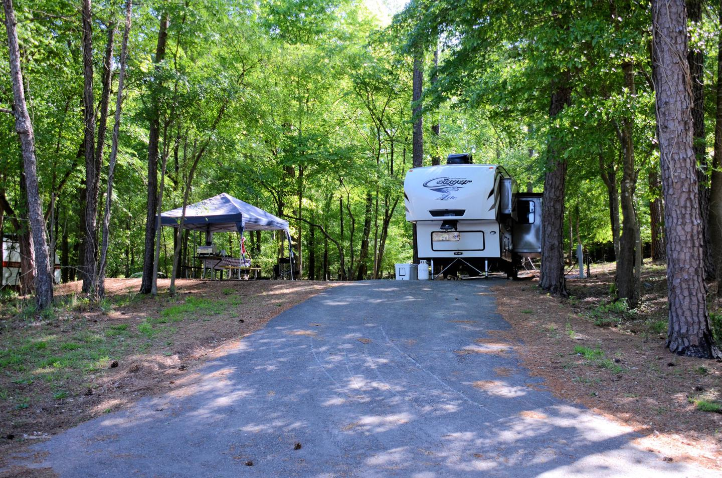 Driveway (pull-thru), utilities-side clearance.McKinney Campground, campsite 32