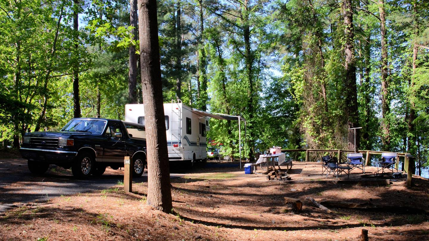 Driveway (pull-thru), awning-side clearance.McKinney Campground, campsite 33