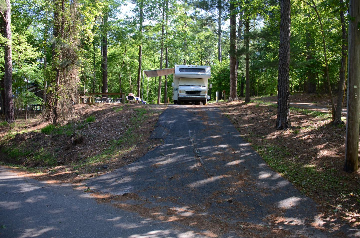 Driveway (pull-thru), utilities-side clearanceMcKinney Campground, campsite 33