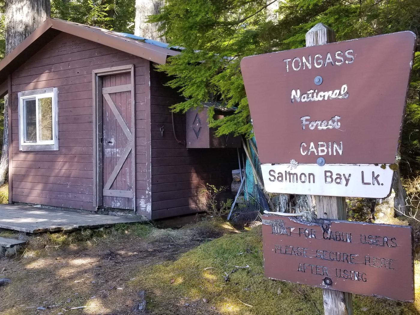 Salmon Bay Lake Cabin and sign.Salmon Bay Lake Cabin.