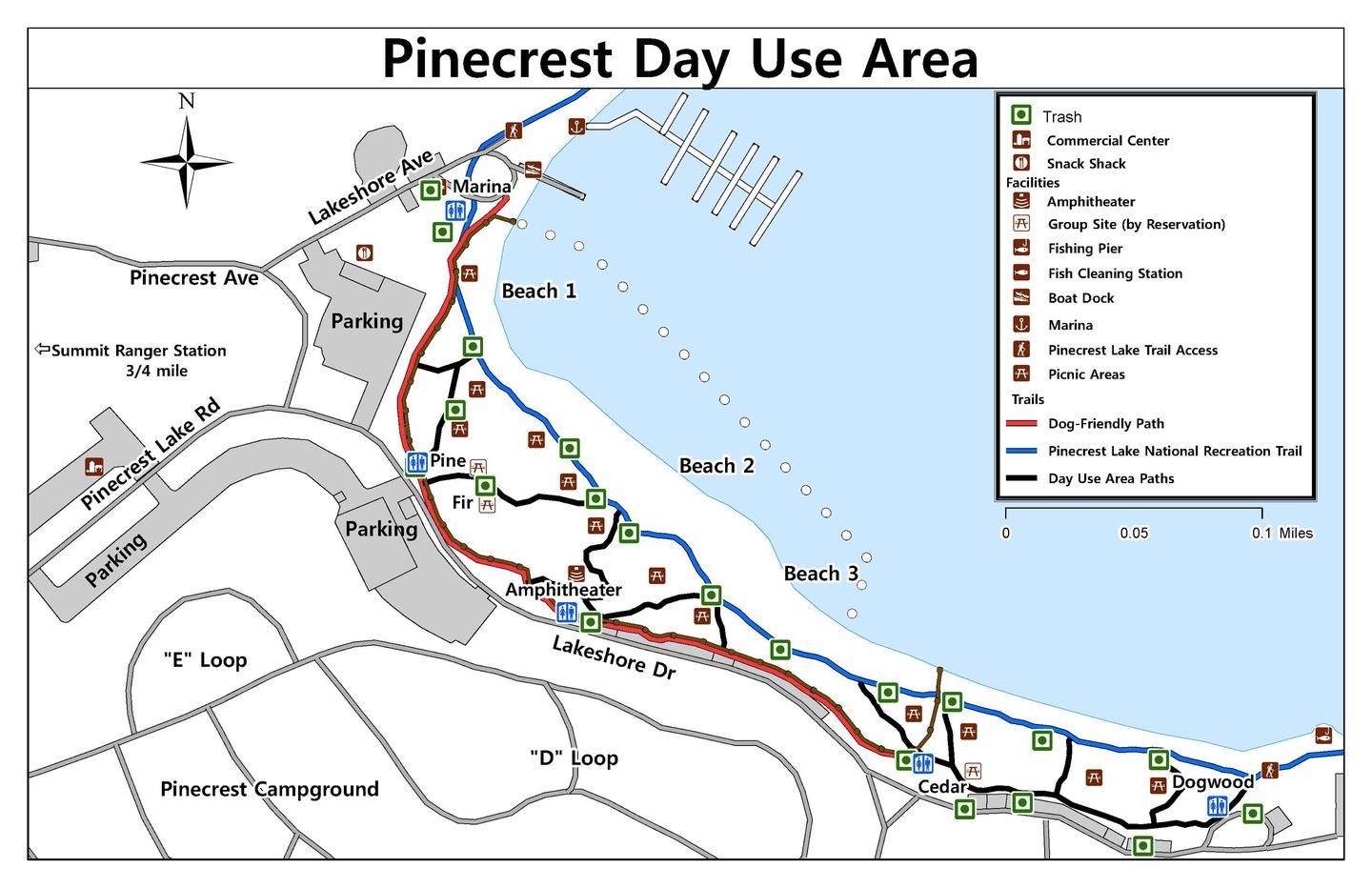 Map of the Pinecrest Day Use Area