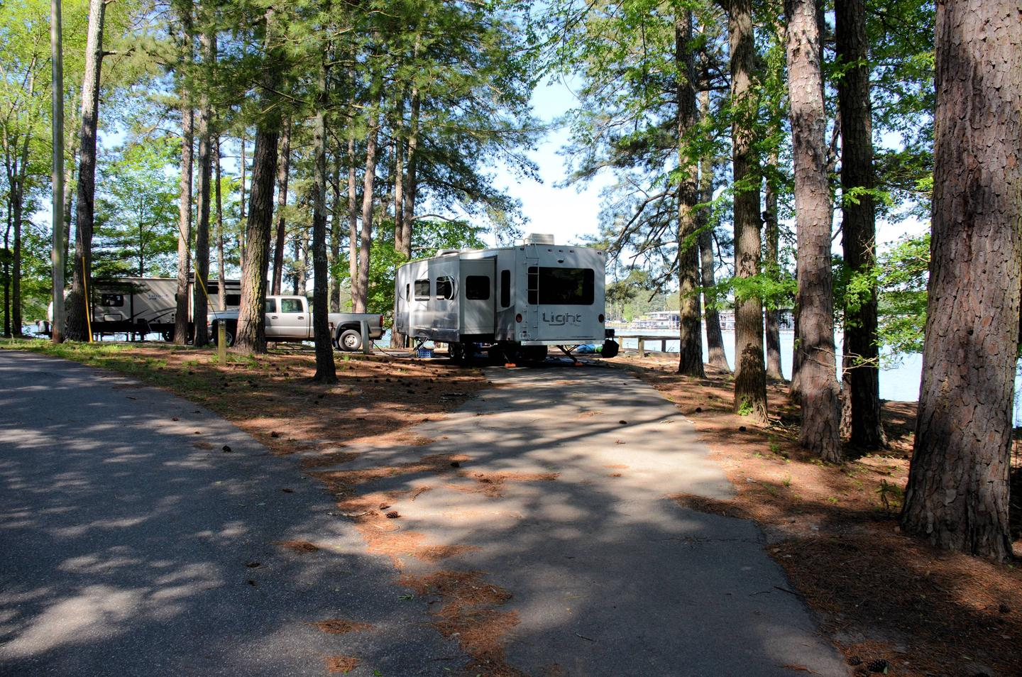Pull thru entrance, clearance utilities sideMcKinney Campground, campsite 34.