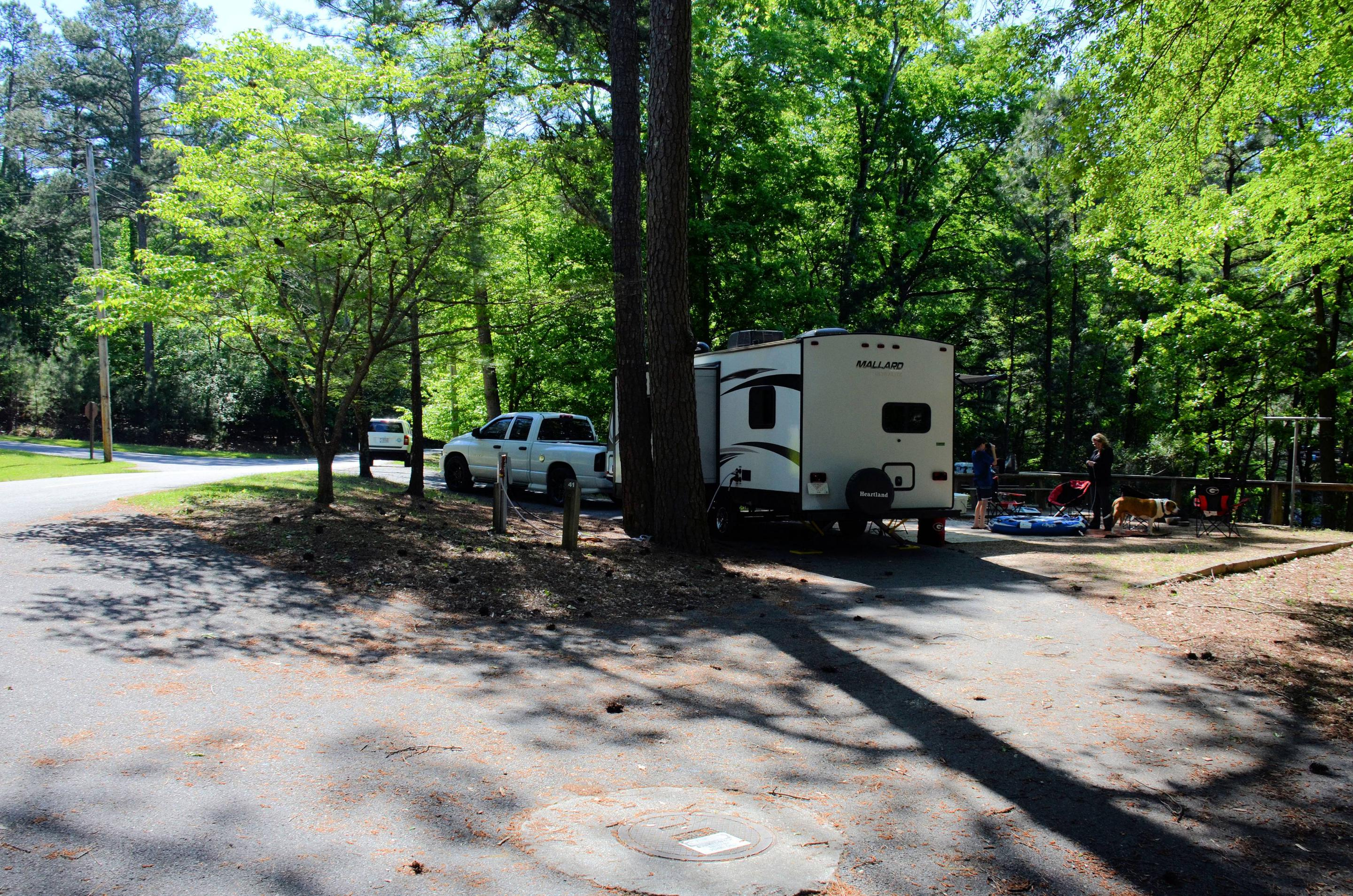 Pull-thru entrance, driveway slope, utilities-side clearance.McKinney Campground, campsite 41