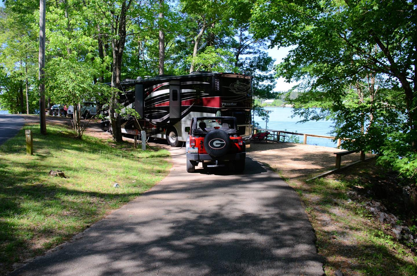 Pull-thru entrance, driveway slope, utiliteis-side clearance.McKinney Campground, campsite 43.