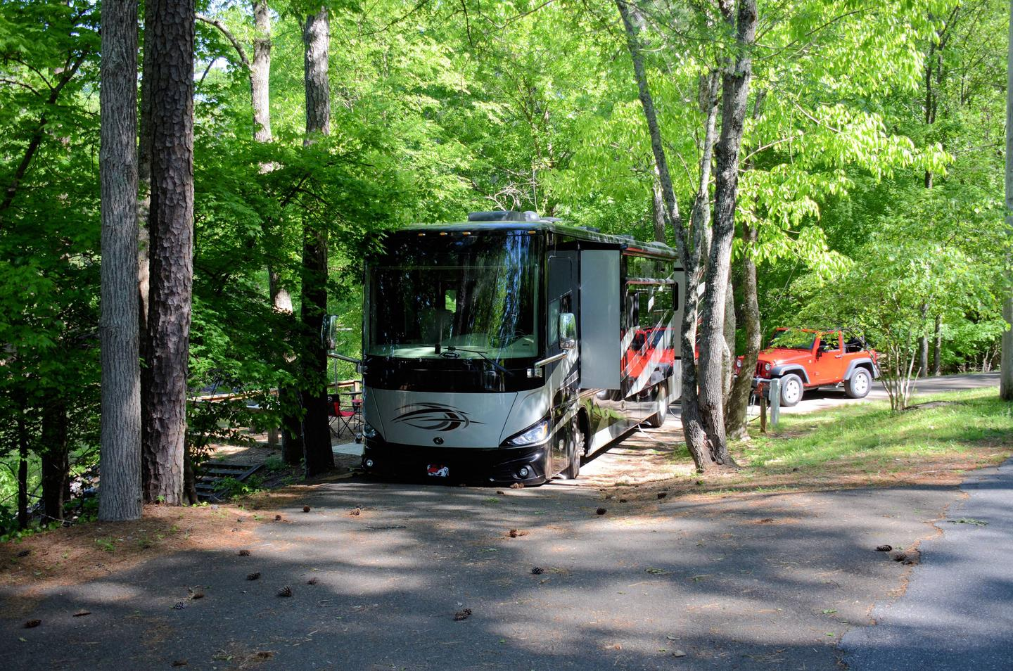 Pull-thru exit, driveway slope, awning clearance.McKinney Campground, campsite 43.