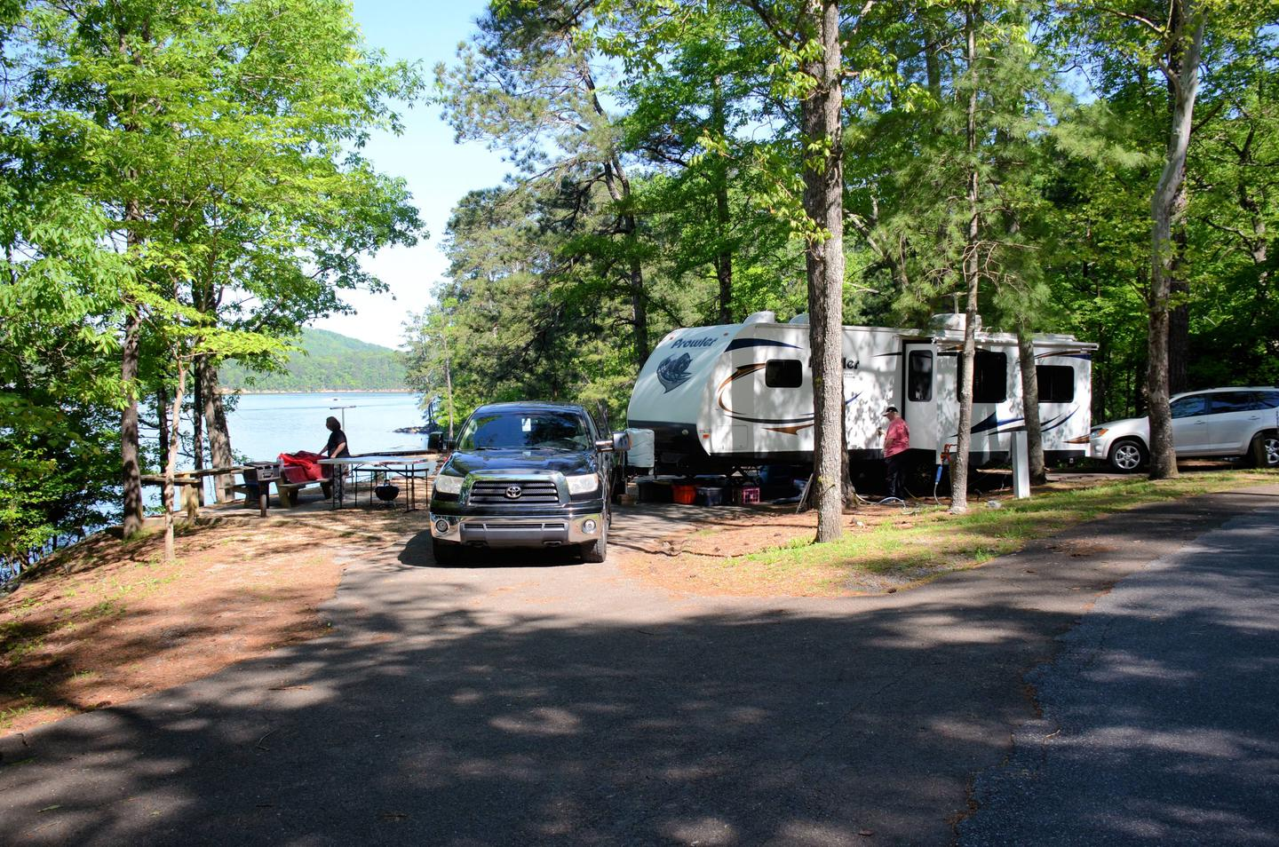 Pull-thru exit, driveway slope, awning-side clearance.McKinney Campground, campsite 44.