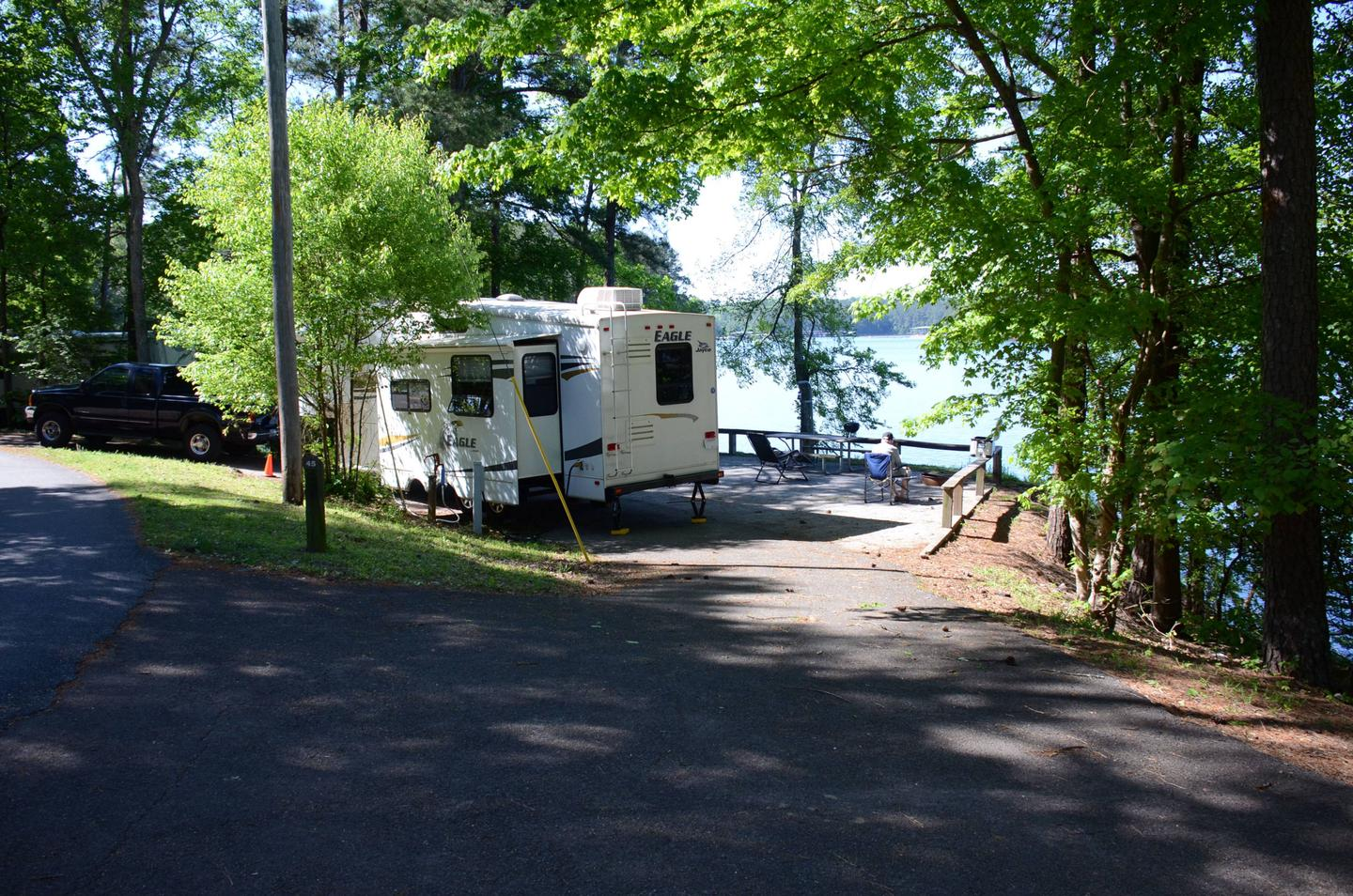 Pull-thru entrance, driveway slope, utilities-side clearance.McKinney Campground, campsite 45.