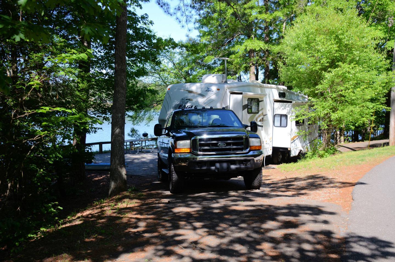 Pull-thru exit, driveway slope.McKinney Campground, campsite 45.