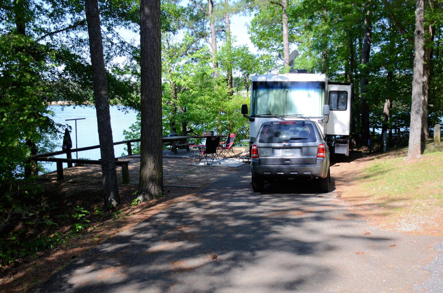 Driveway slope, awning-side clearance.McKinney Campground, campsite 46.