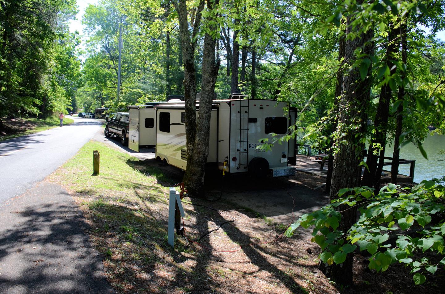 Driveway slope, utilities-side clearance.McKinney Campground, campsite 47.