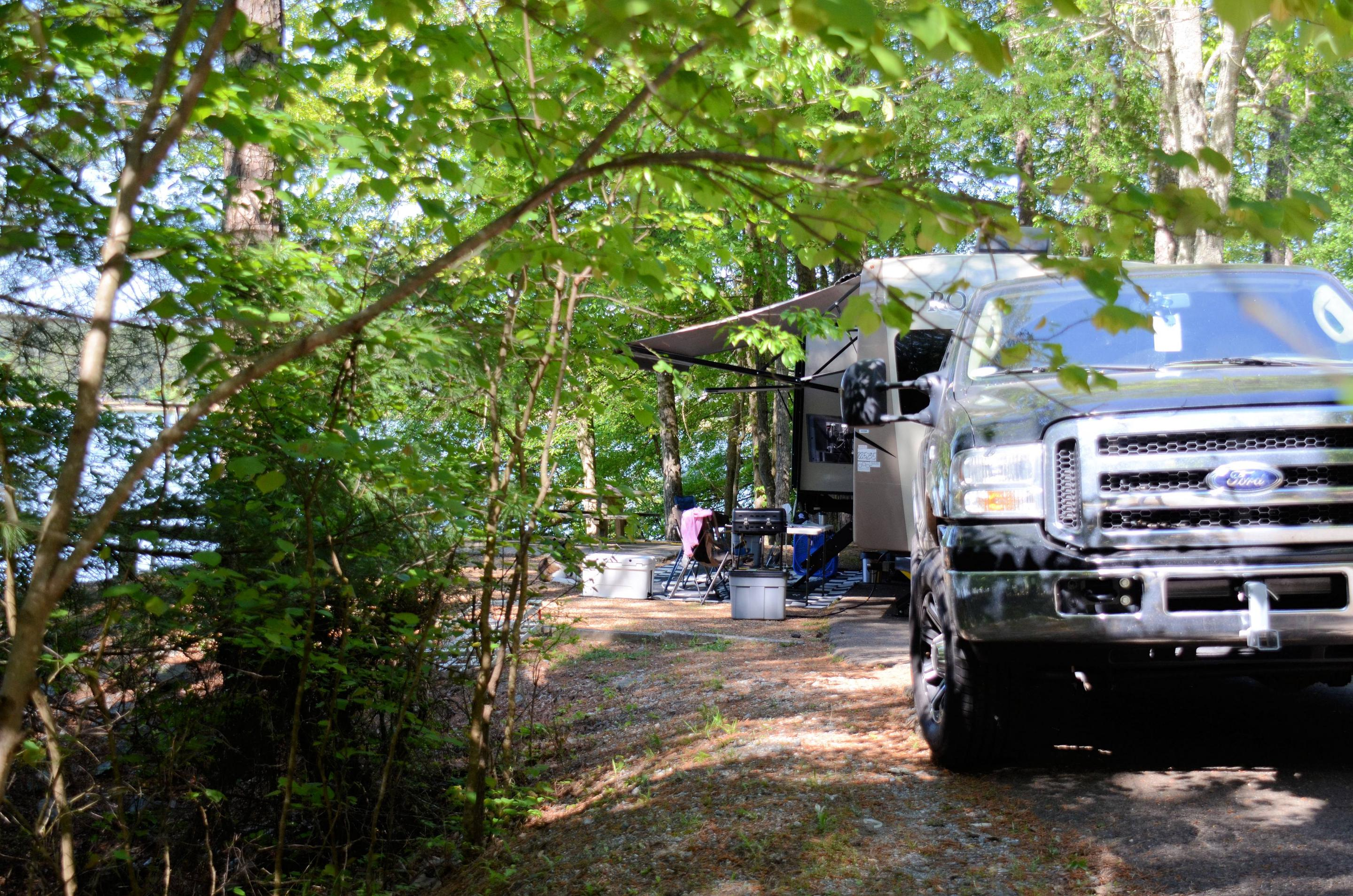 Awning-side clearance.McKinney Campground, campsite 47.