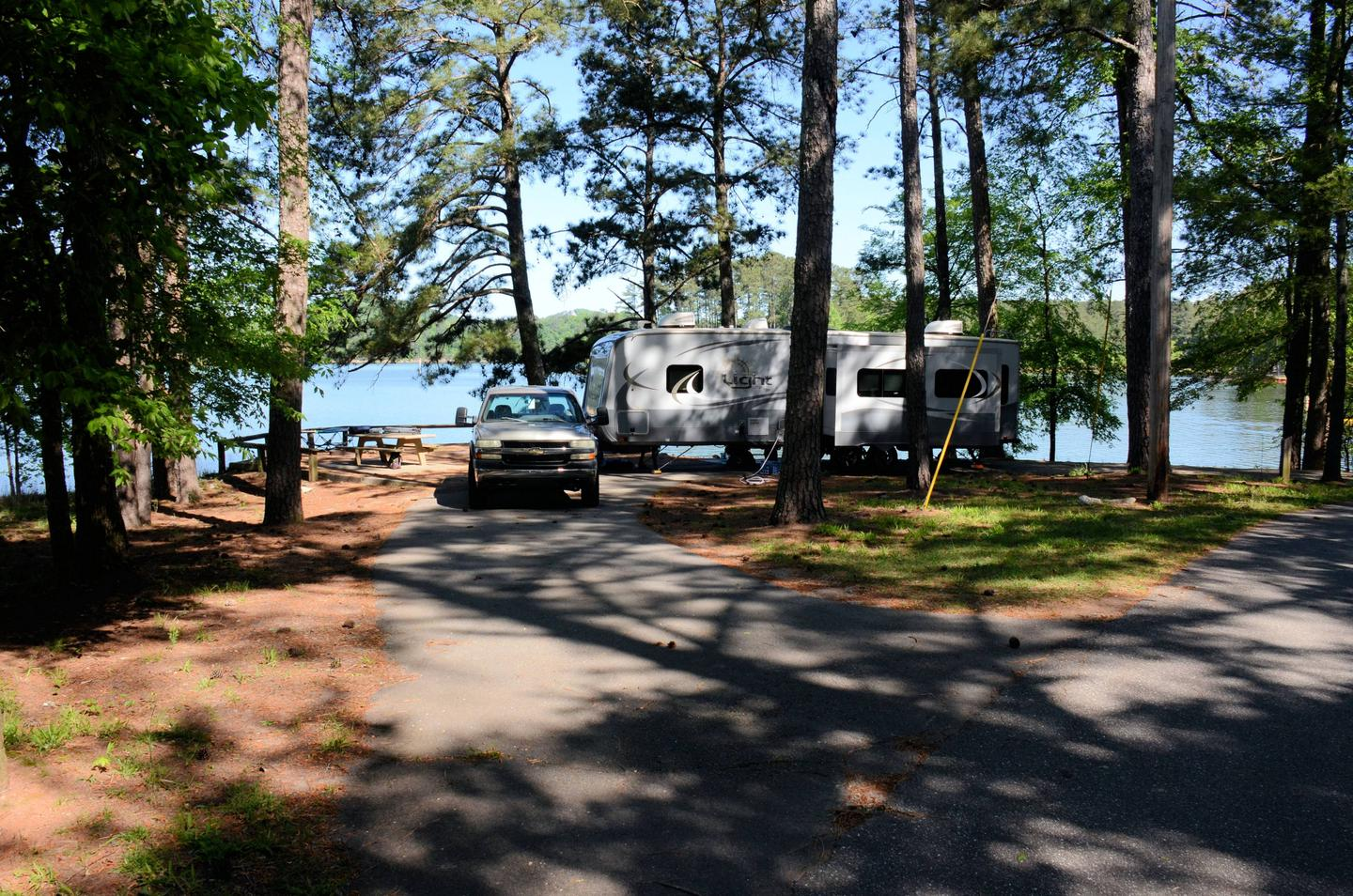 Pull-thru exit, driveway slope, tree clearance.McKinney Campground, campsite 34.