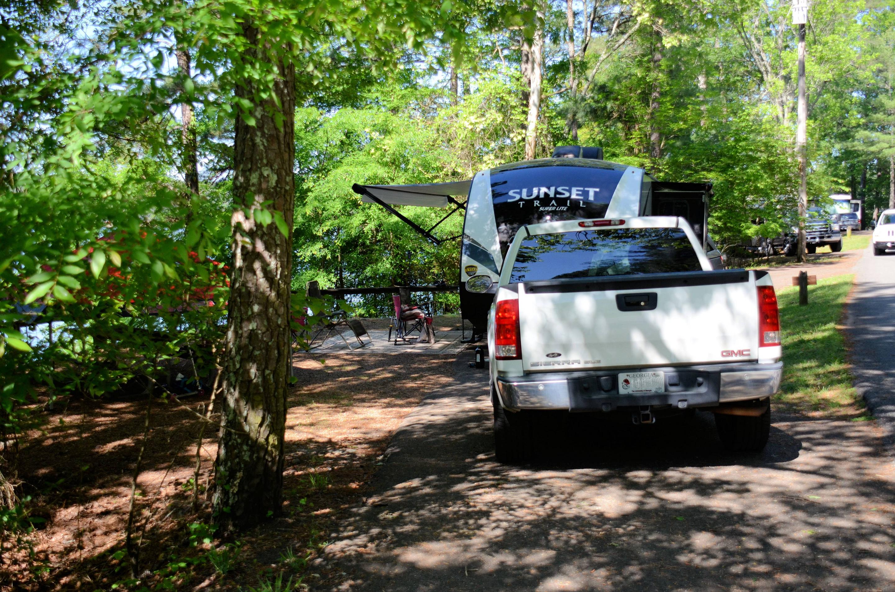 Pull-thru exit, driveway slope, awning-side clearance.McKinney Campground, campsite 48.