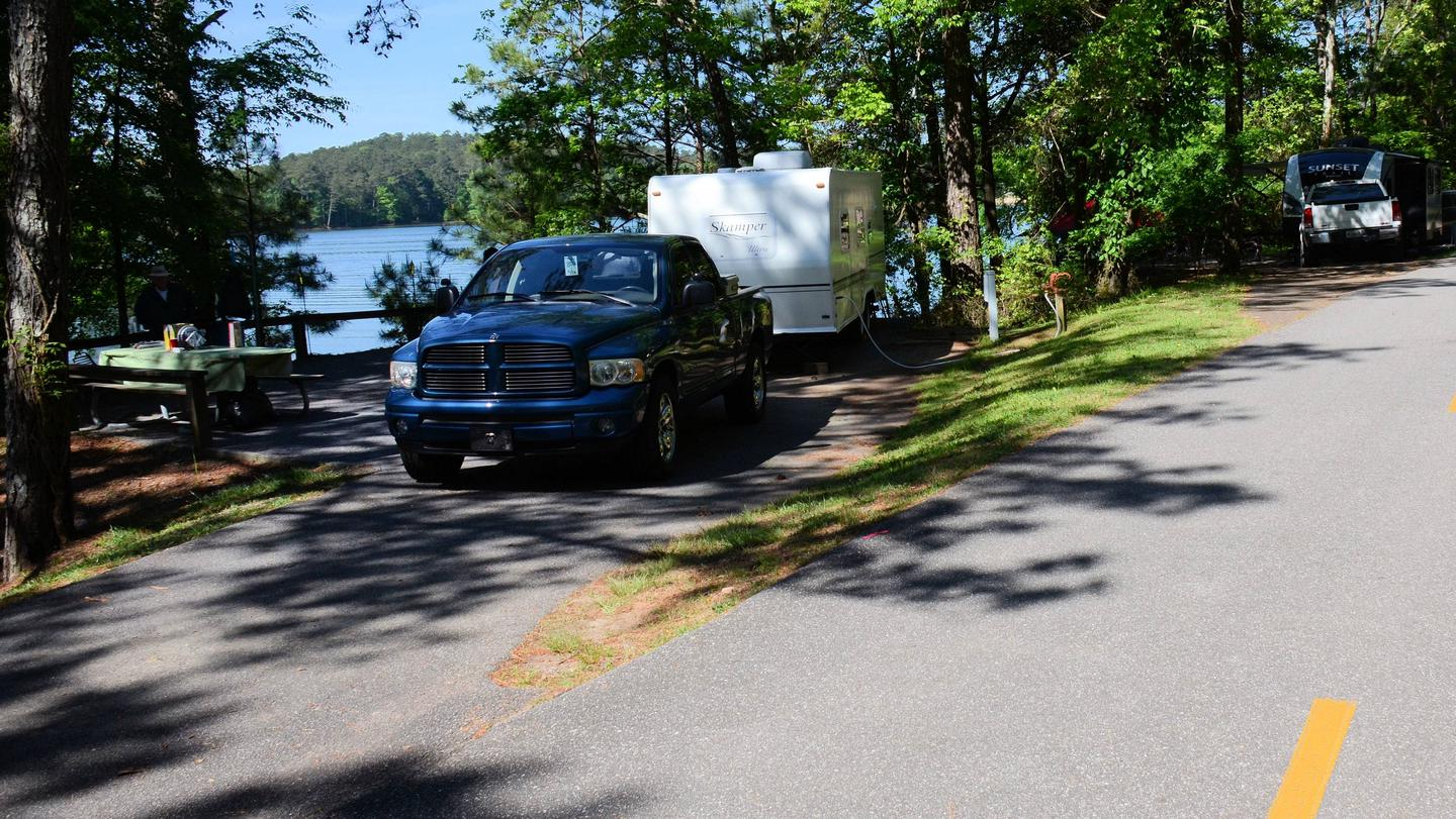 Driveway entrance/slope, utilities-side clearance.McKinney Campground, campsite 49.