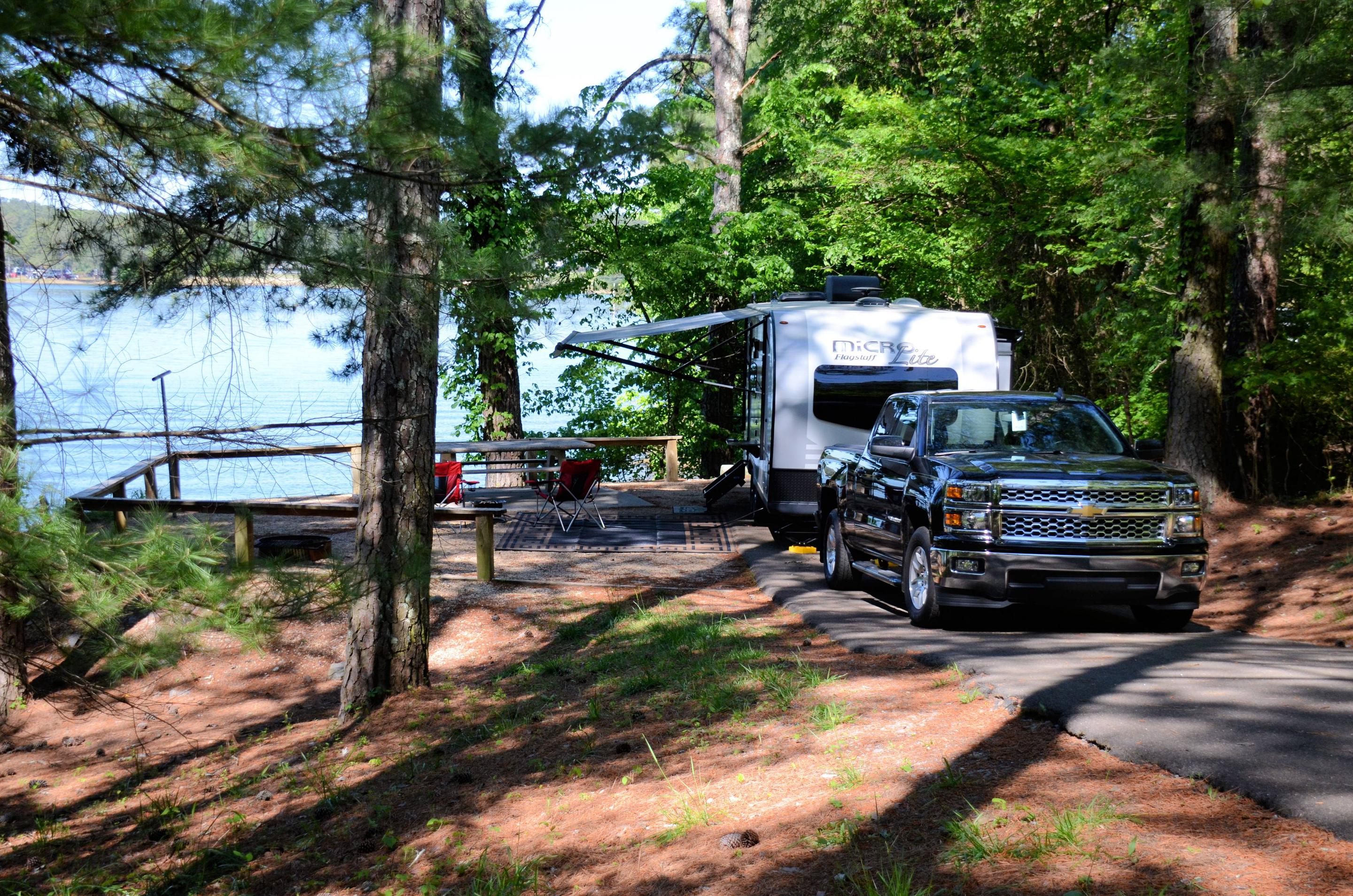 Driveway slope, awning-side clearance.McKinney Campground, campsite 51