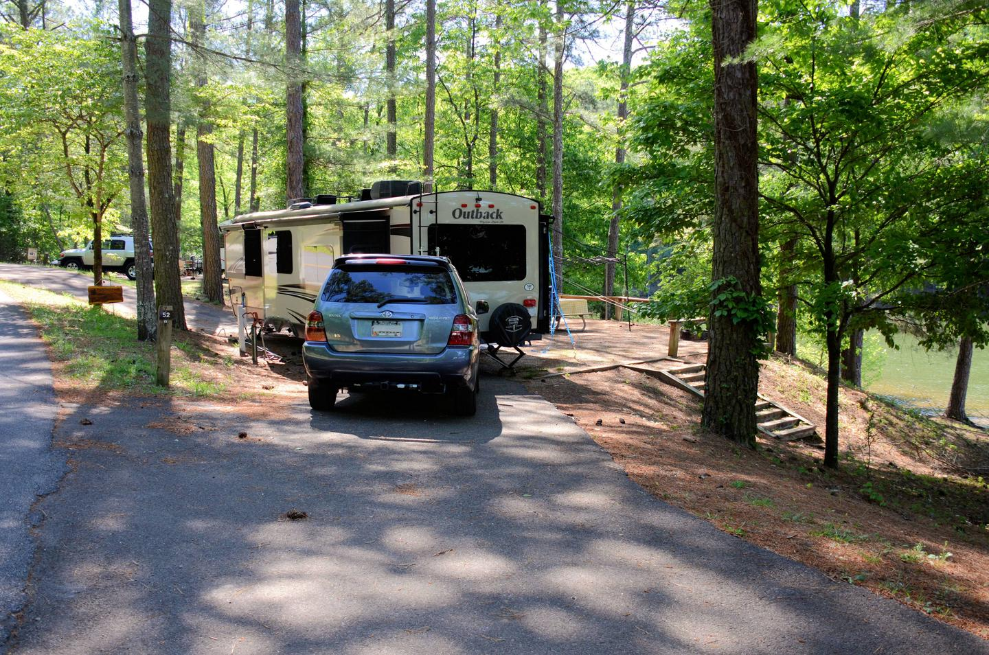 Pull-thru entrance, driveway slope, utilities-side clearanceMcKinney Campground, campsite 52
