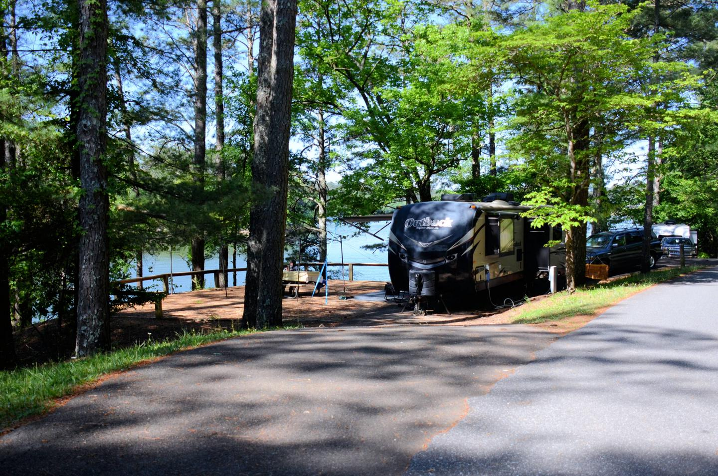Pull-thru exit, driveway slope, awning-side clearance.McKinney Campground, campsite 52