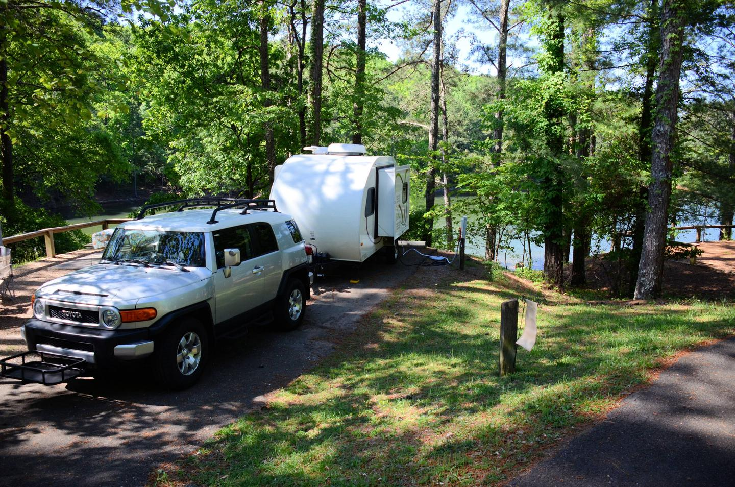 Driveway slope, utilities-side clearance.McKinney Campground, campsite 53.