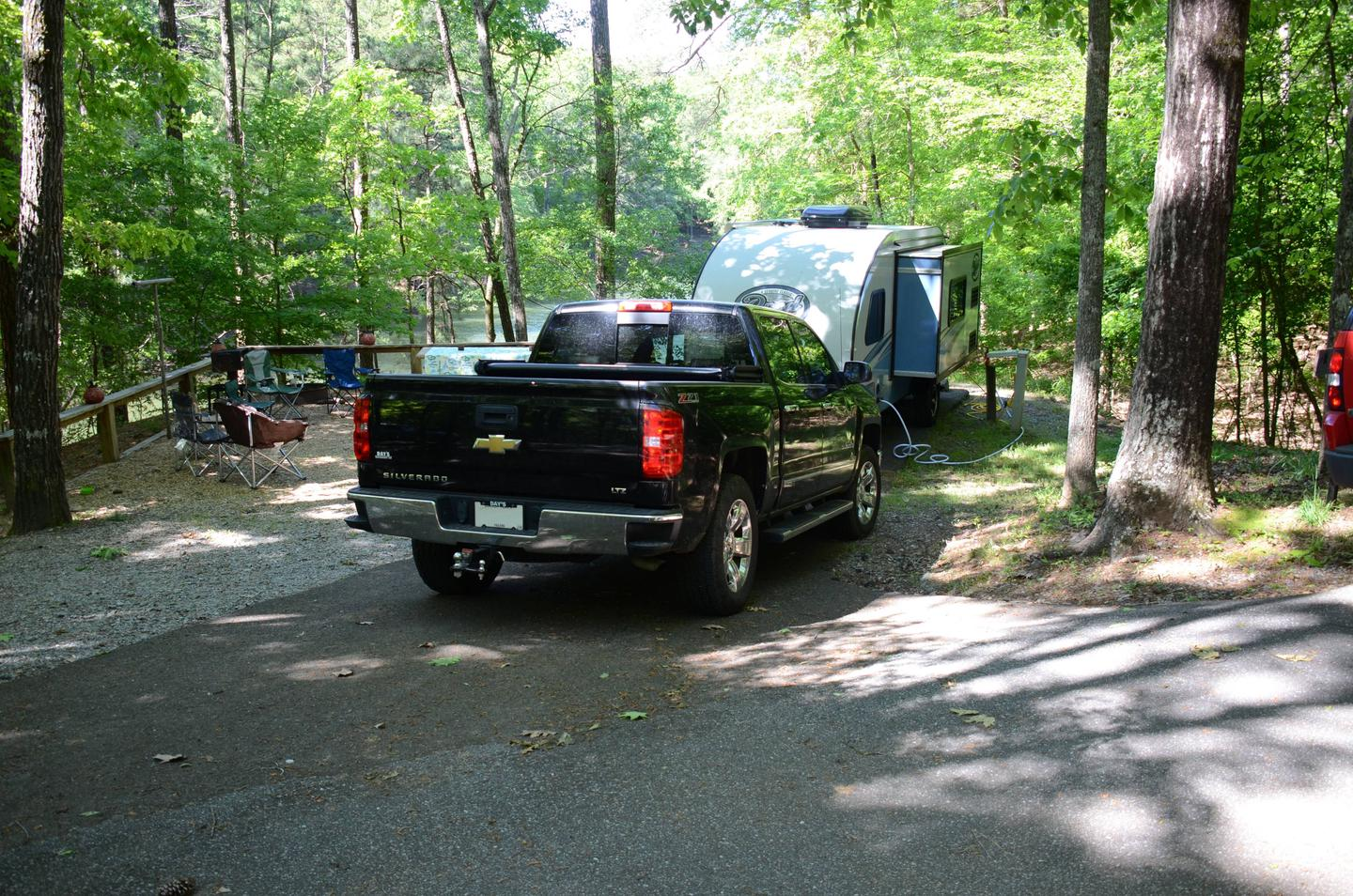 Driveway slope, utilities-side clearance.McKinney Campground, campsite 56