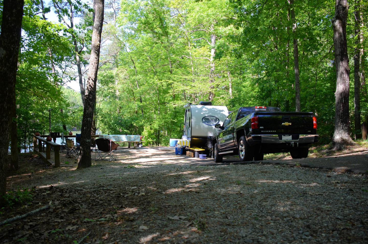 Driveway slope, awning-side clearance.McKinney Campground, campsite 56.