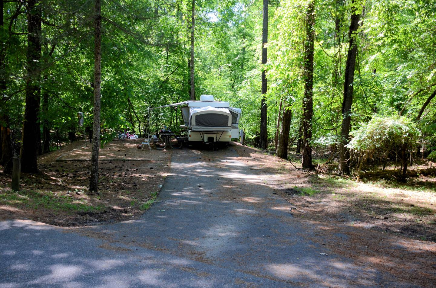 Driveway entrance/slope, awning-side clearance.McKinney Campground, campsite 58.