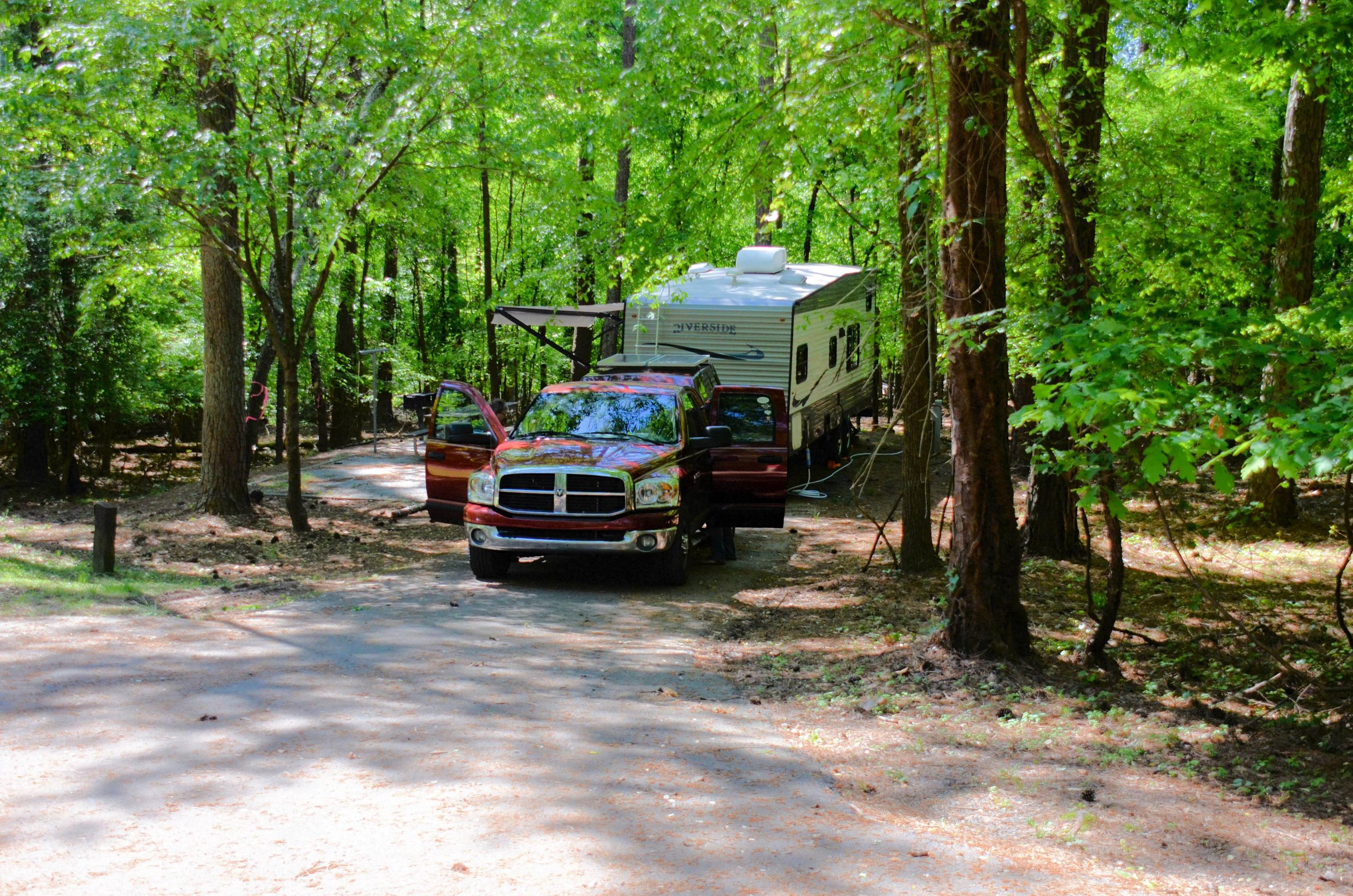 Driveway entrance/slope, utilities-side clearance.McKinney Campground, campsite 60.