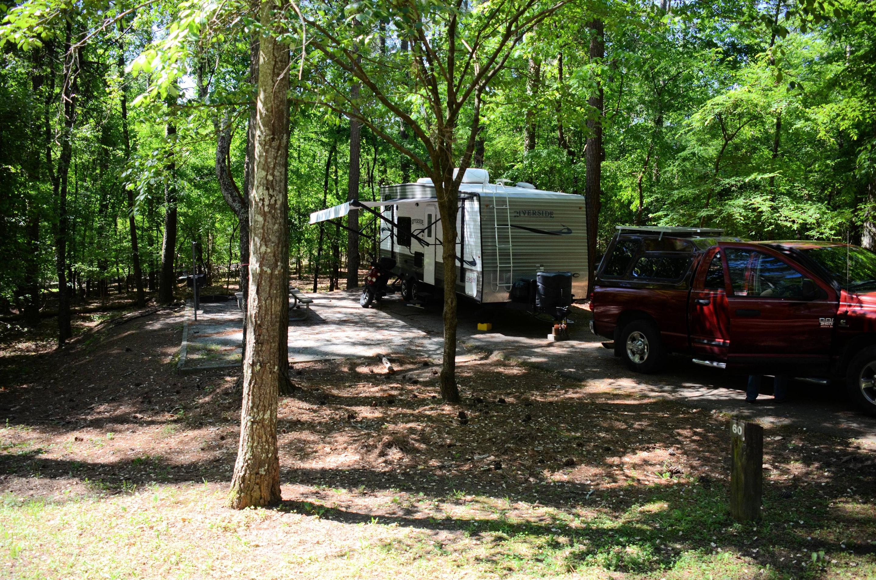 Driveway slope, awning-side clearance.McKinney Campground, campsite 60.