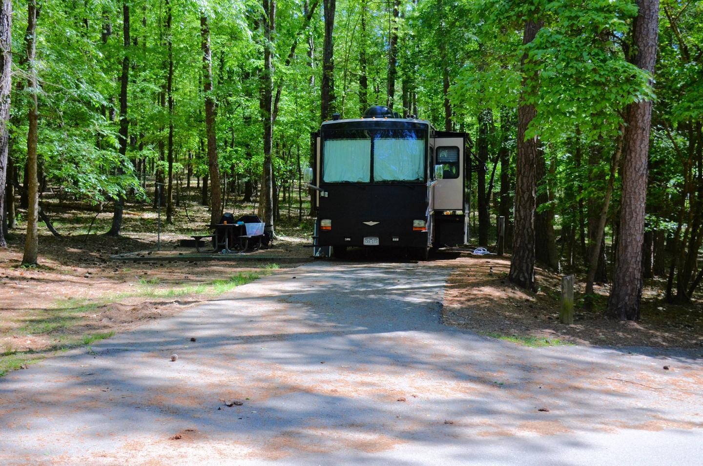 Driveway entrance/slope, utilities-side clearance.McKinney Campground, campsite 61.