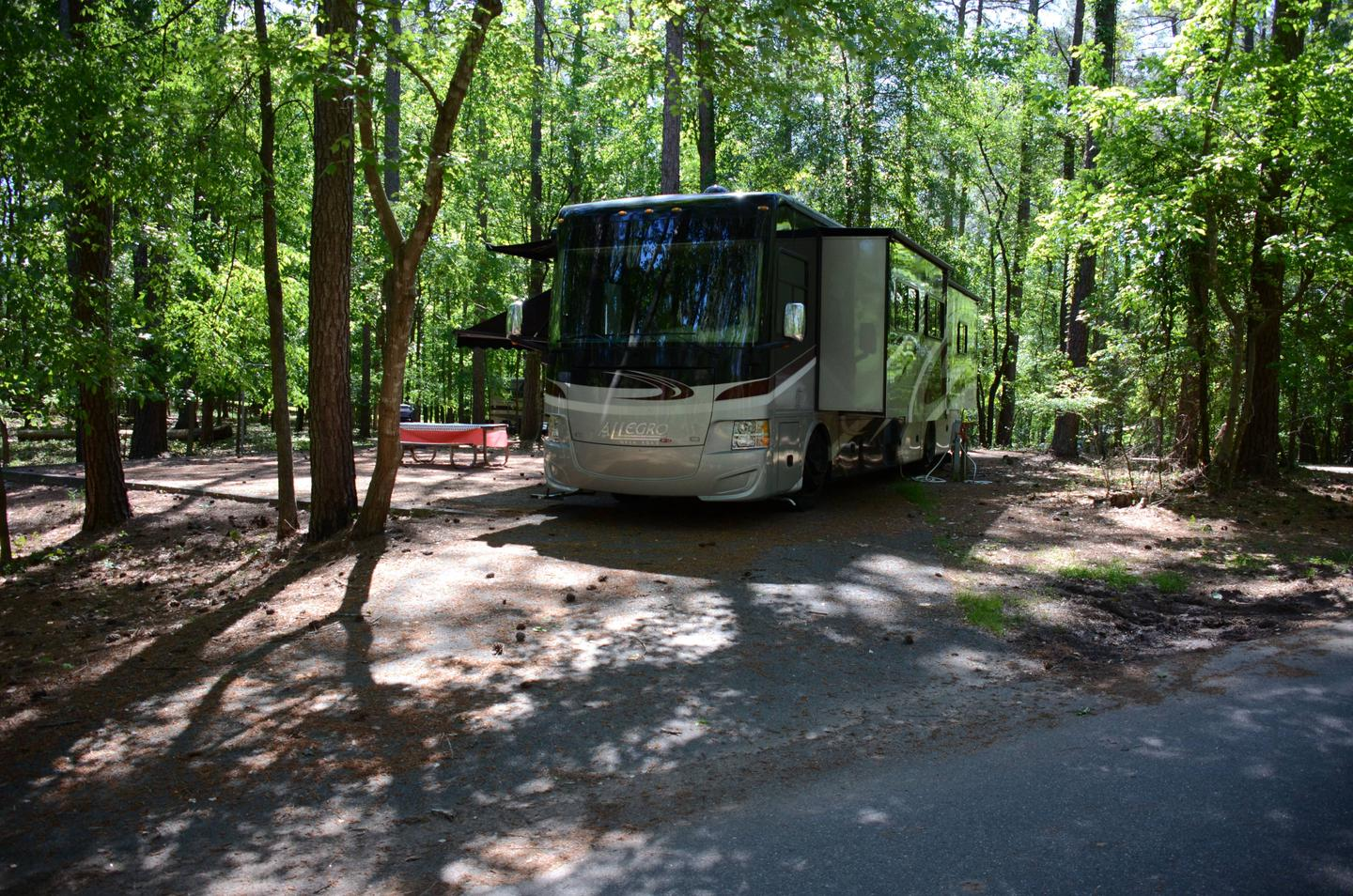 Pull-thru exit, driveway slope, utilities-side clearance.McKinney Campground, campsite 62.