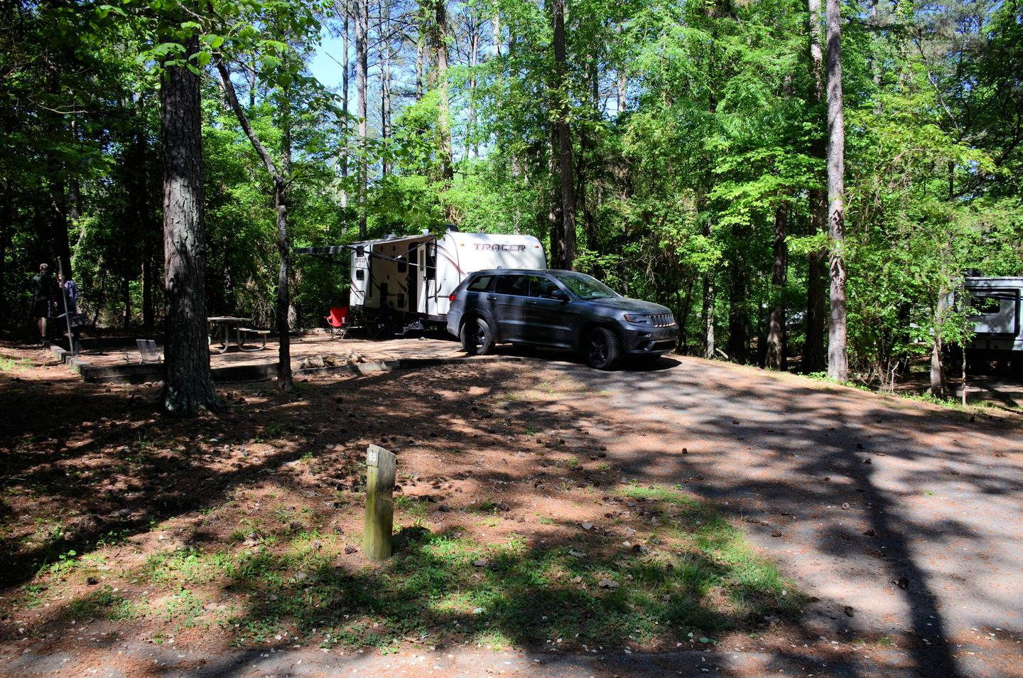 Driveway slope, awning-side clearance.McKinney Campground, campsite 65.