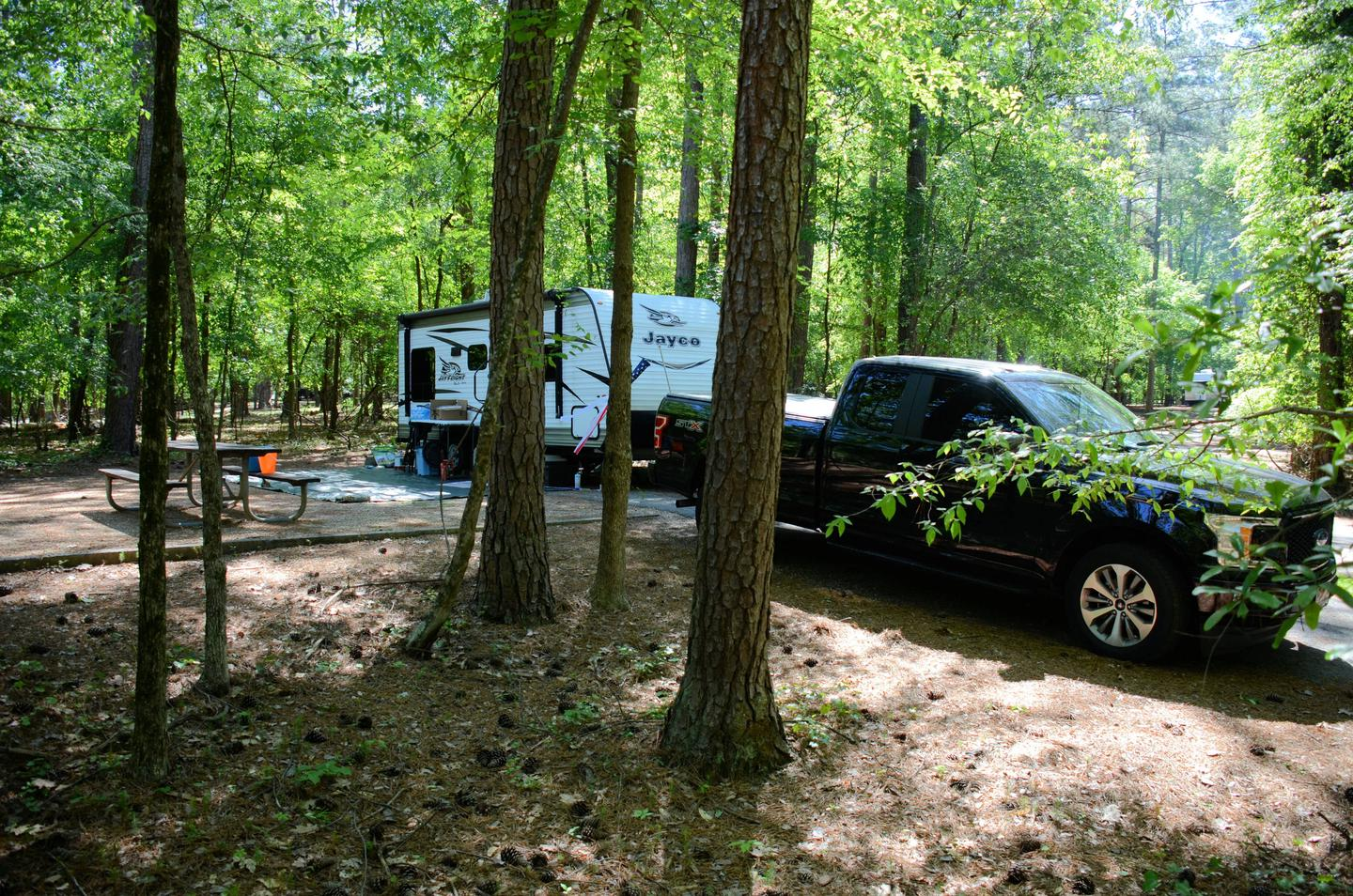 Driveway slope, awning-side clearance.McKinney Campground, campsite 71