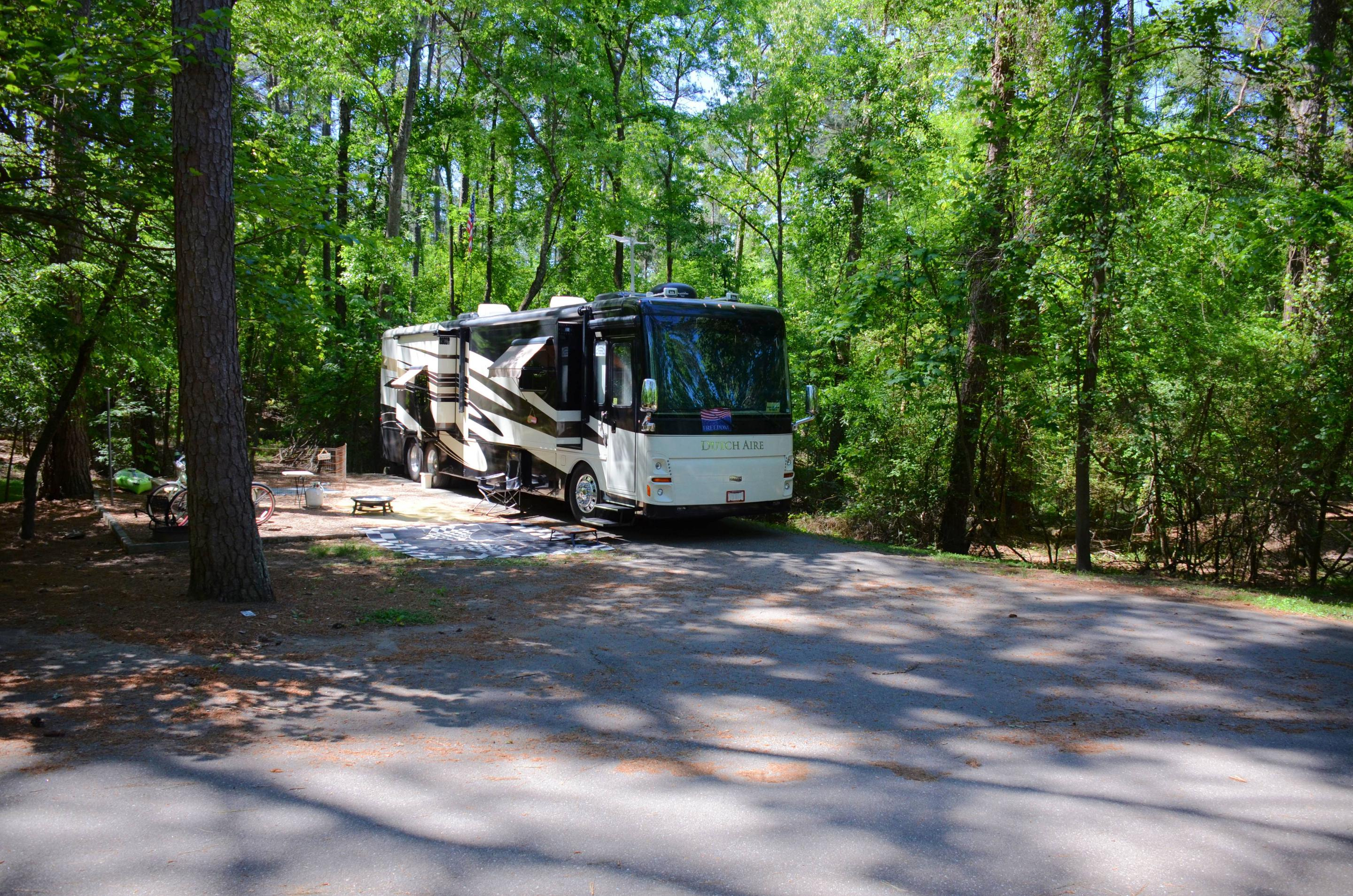 Driveway entrance/slope, awning-side clearance.McKinney Campground, campsite 72.
