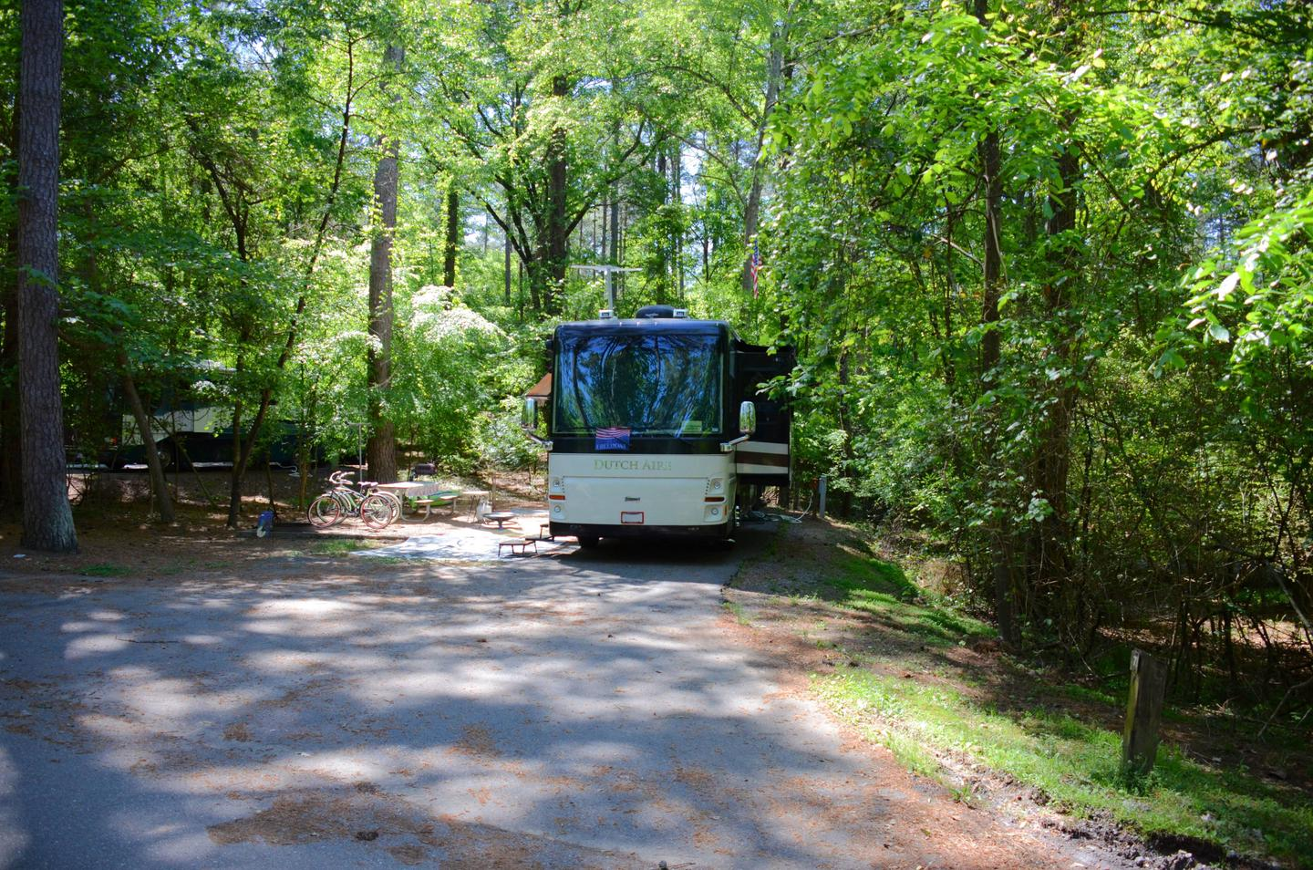Driveway entrance/slope, utilities-side clearance.McKinney Campground, campsite 72.
