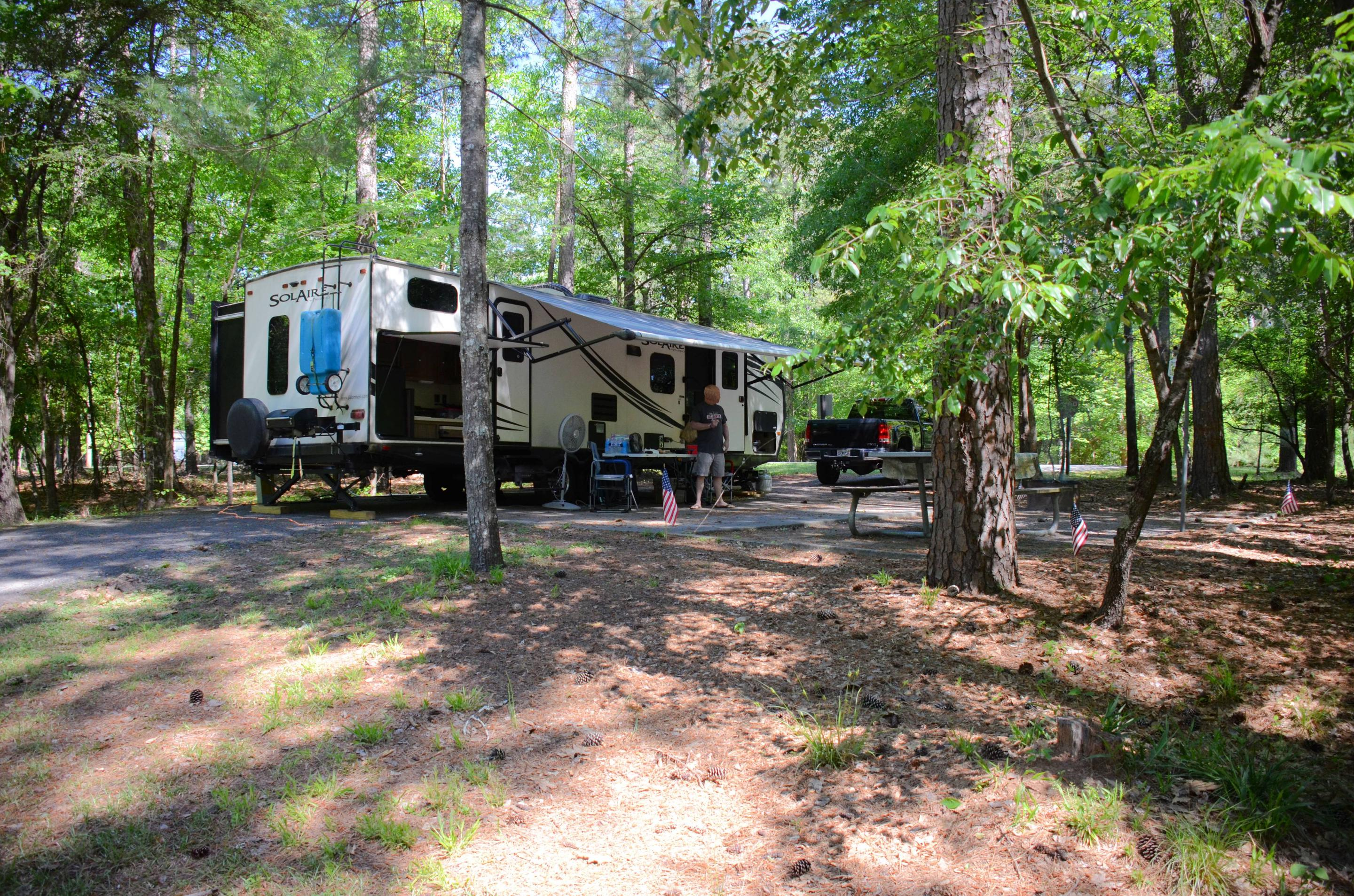 Campsite view, awning-side clearance.McKinney Campground, campsite 73