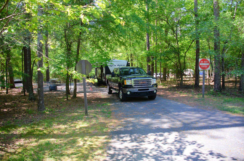 Pull-thru exit, driveway slope.McKinney Campground, campsite 73