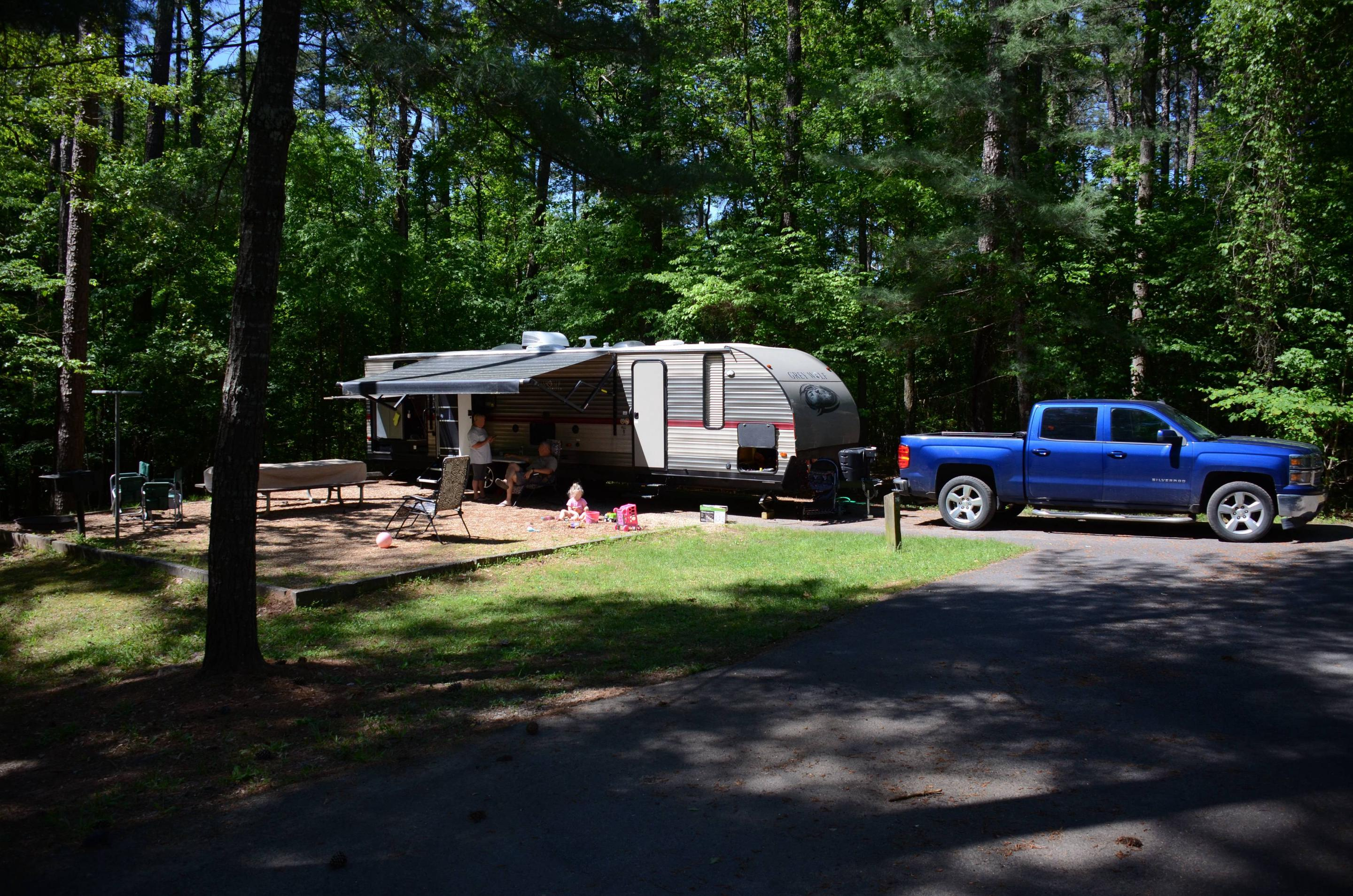 Campsite view, awning-side clearance.McKinney Campground, campsite 76.