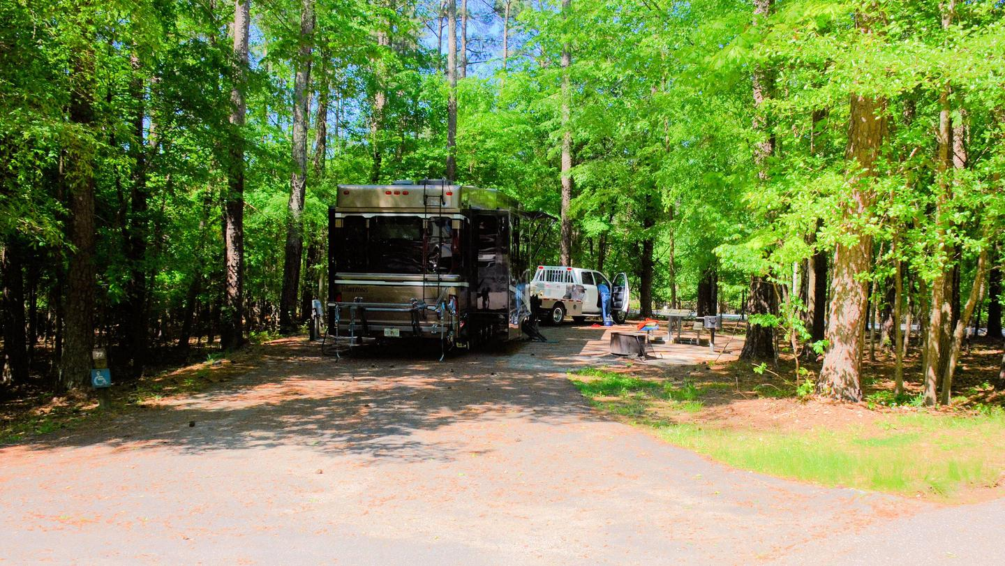 Pull-thru entrance, ADA site, awning side clearance.McKinney Campground, campsite 77, ADA.