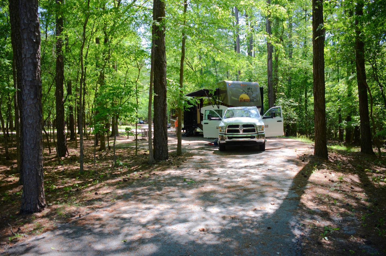 Pull-thru exit, ADA site, utilities-side clearance.McKinney Campground, campsite 77, ADA.