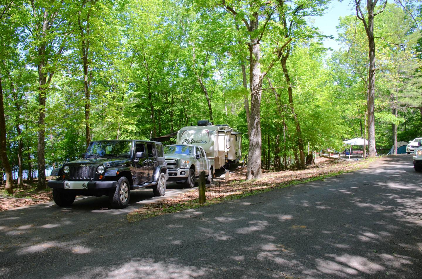 Driveway entrance angle/slope, utilities-side clearance.McKinney Campground, campsite 84
