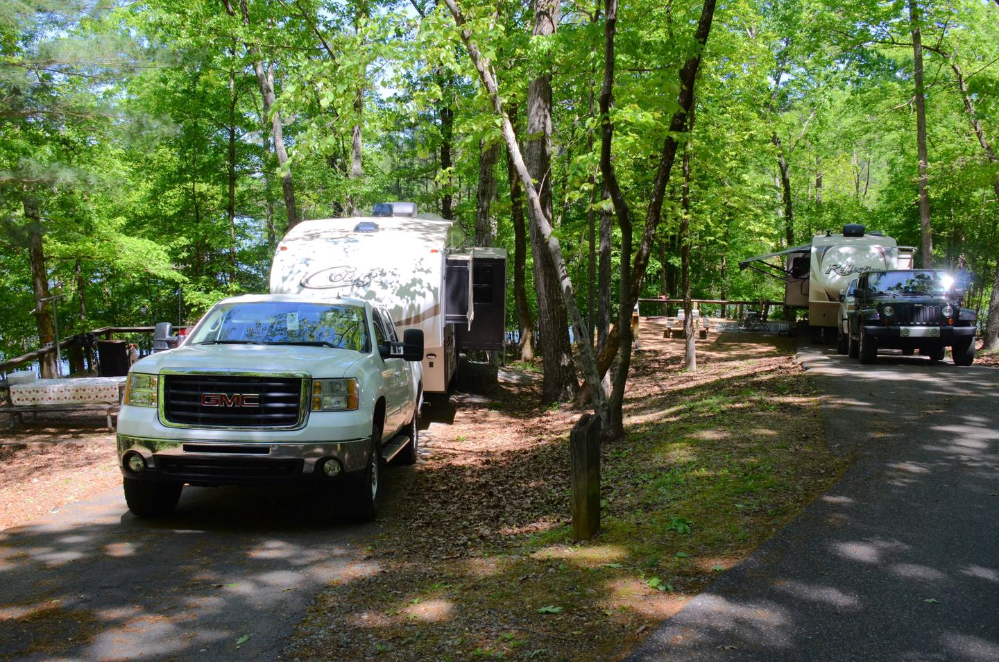 Driveway entrance angle/slope, utilities-side clearance.McKinney Campground, campsite 85.