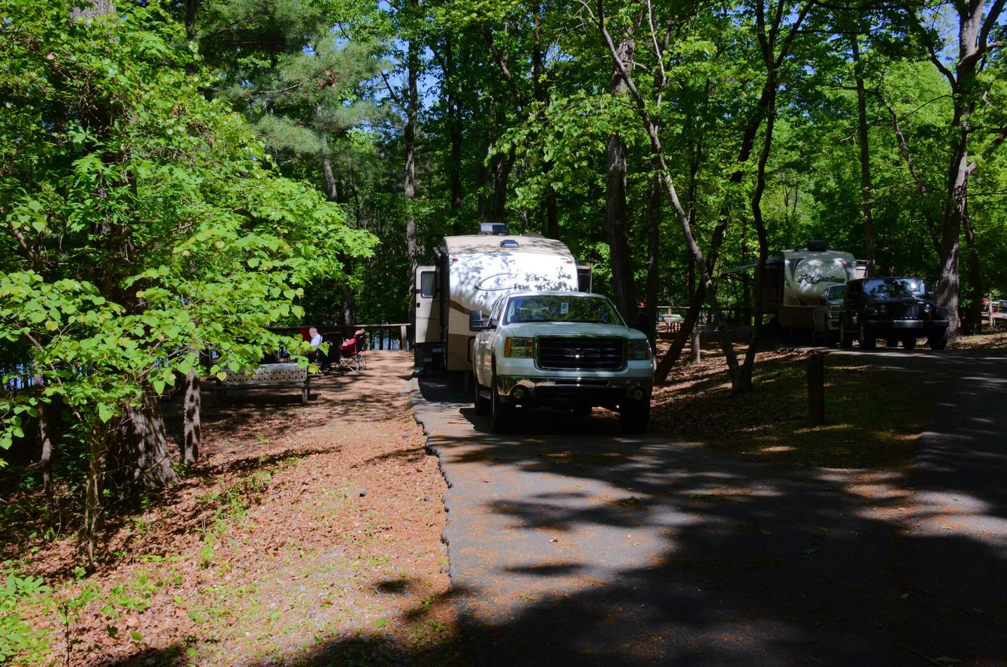 Driveway slope, awning-side clearance.McKinney Campground, campsite 85.