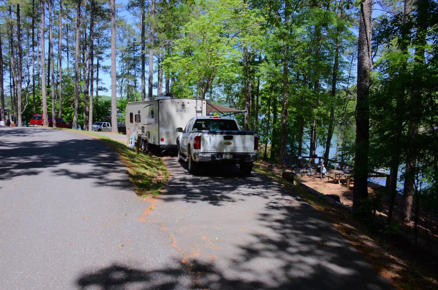 Pull-thru entrance, driveway slope, utilities-side clearance.McKinney Campground, campsite 86.