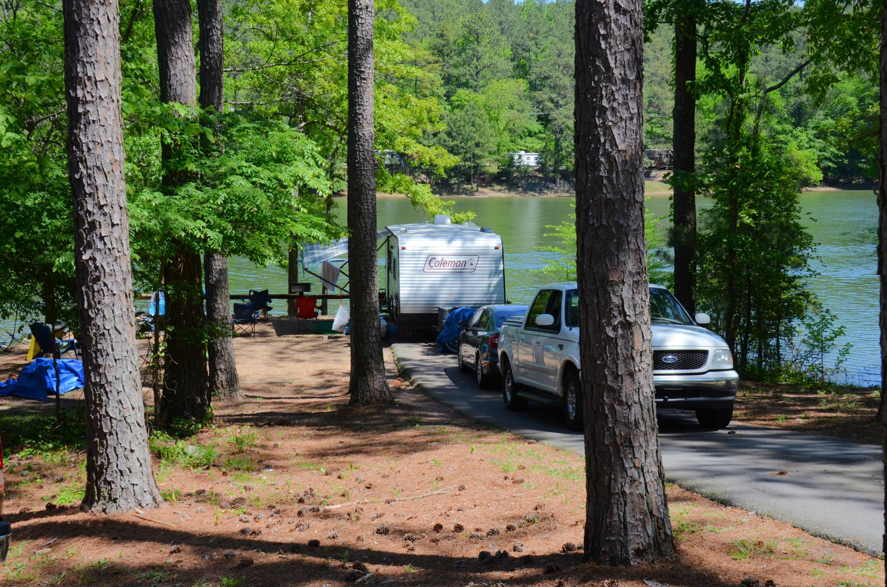 Driveway slope, awning-side clearance.McKinney Campground, campsite 87.