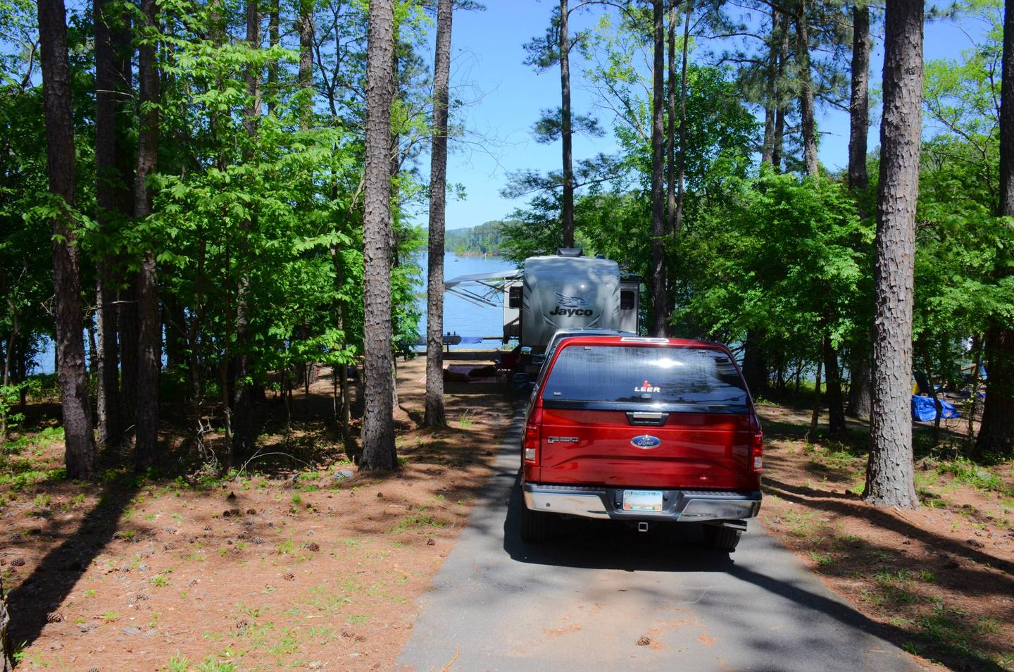 Driveway slope, awning-side clearance.McKinney Campground, campsite 88.