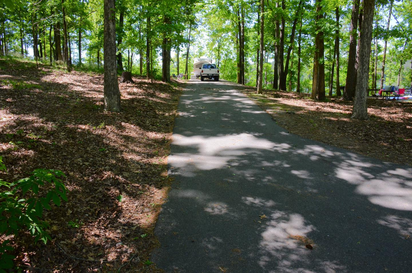 Driveway slope, awning-side clearance.McKinney Campground, campsite 92.